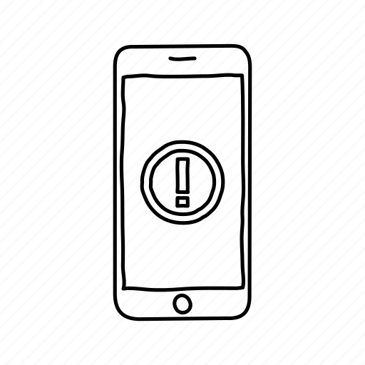 alert, devices, handdrawn, iphone, mobile, screens, warning icon