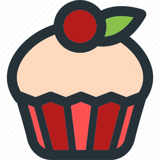 cake, cherry, cup, cupcake, dessert, food, sweet icon