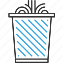 can, detailed, line, office, supplies, thin, trash icon