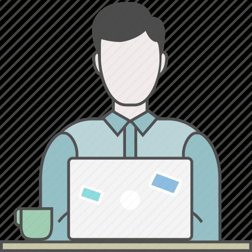backend, coding, developer, frontend, male, programmer, qa icon