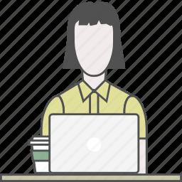 backend, coding, developer, female, frontend, programmer, qa icon