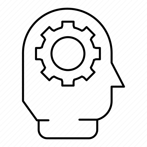brainstorm, creative, gear, head, think, thinking icon