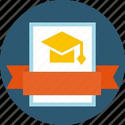 academic, baccalaureate, certificate, degree, diploma, education, graduation, grant, laurel wreath, mba, sertificate, standard icon