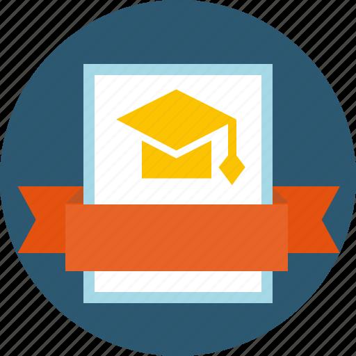 academic, baccalaureate, certificate, degree, diploma, education, graduation, grant, laurel wreath, mba, sertificate, standard, subject icon