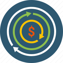 accrue, auction, cash, earnings, invest, money, movement, profit, startup, transfer, turnover icon
