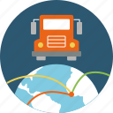 cargo, deliverable, delivery, delivery point, distribution, good supply, international, logistics, lorry, shipping, supply, transit, transportation, truck, van, worldwide icon