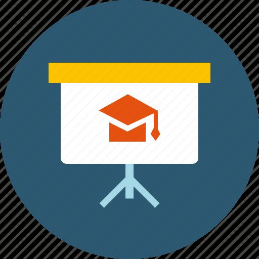 board, coaching, distance, education, interactive, learning, seminar, subject, training, webinar icon