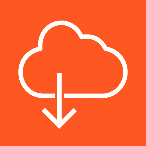 arrow, cloud, cloud computing, data, download, storage, technology icon
