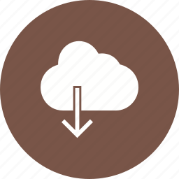 arrow, cloud, cloud computing, data, download, storage, technology icon