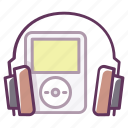 audio, device, headphones, ipod, music, play, sound icon