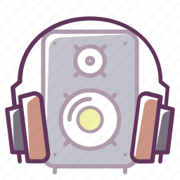 device, headphones, music, musical speaker, play, sound, volume icon