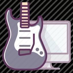 audio, computer, electronics, guitar, monitor, music, sound icon