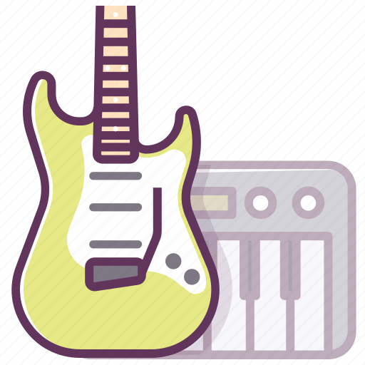 appliance, audio, electronics, guitar, music, piano, play icon