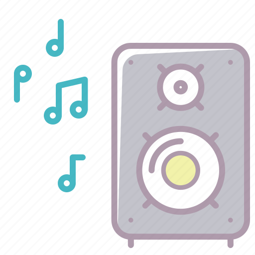 appliance, electronics, music, musical speaker, notes, sound, volume icon