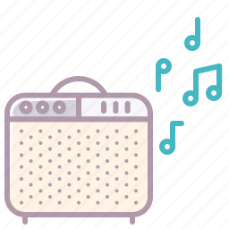 amp, appliance, audio, music, notes, play, sound icon