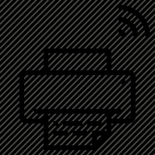 device, paper, printer, technology, wifi icon