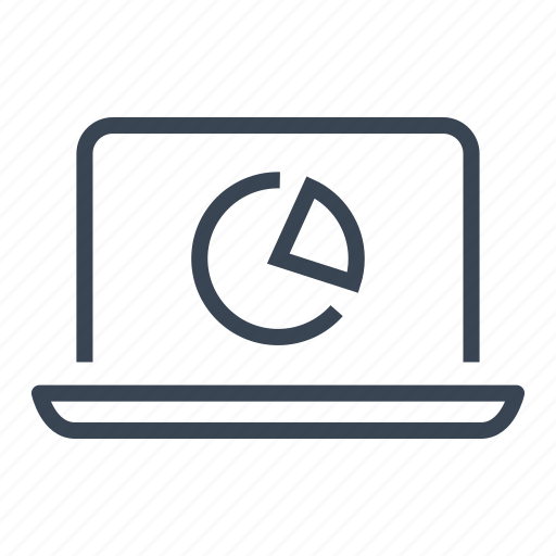 business, chart, computer, graph, laptop, pie icon