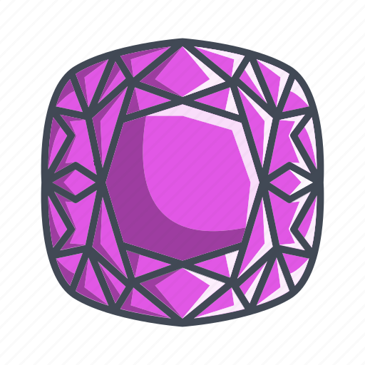 cushion, diamond, gemstone, stone icon