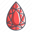 diamond, gemstone, pear icon