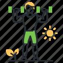 dumbbells, fitness, exercises, sport icon