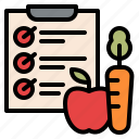 diet, fitness, list, plan icon