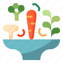 blow, carrot, mushroom, salad, vegetable icon