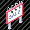 for sale, road board, sale board, sale hoarding, sale sign, signboard icon