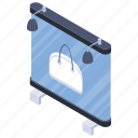 bag sale, billboard, handbag offer, sale announcement, shopping advertisement icon