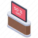 50% discount, deal, offer, sale, special offer icon