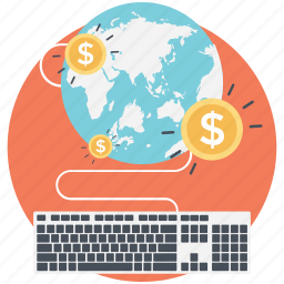 compensation economy concept, corporate employee income, earn online, freelancing, make money online icon