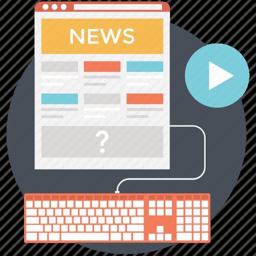 digital news, internet newspaper, online news, reading online, web news icon
