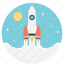 beginning, development, launching, rocket launch, startup icon