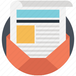 business mail, communication, news report, newsletter, printing report icon