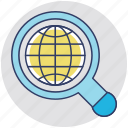 discovery, find location, global search, global view, globe with magnifier