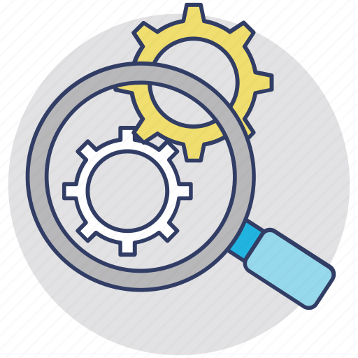 Application development, gear with magnifier, programming, search settings, seo concept icon - Download on Iconfinder