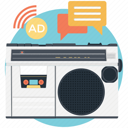 communication advertising, media marketing, on air advertising, radio ad, radio advertising icon