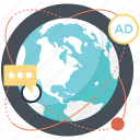 global advertising, international marketing, internet advertising, online marketing, worldwide advertisement icon