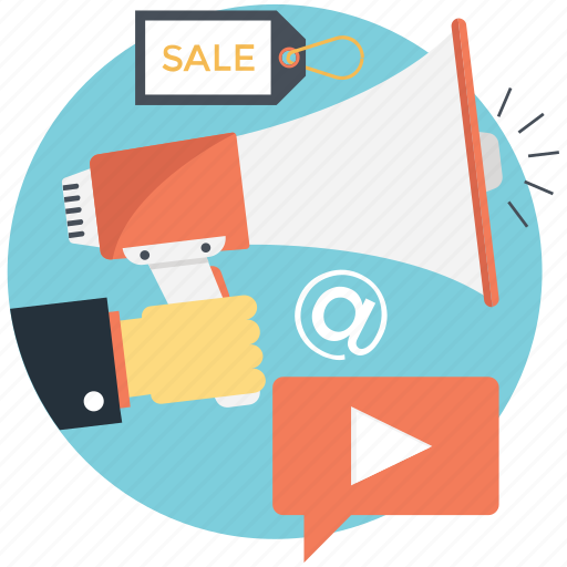 broadcast media, commercial advertising, internet promo, promotion icon