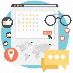 internet marketing, optimization, rating, seo, social media and web ranking icon