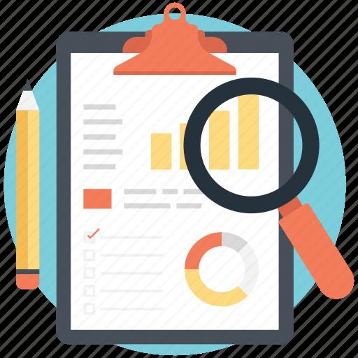 analysis, analytics, organization process, search report, survey icon