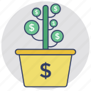 business development, business profit, financial growth, money growth, money growth plant icon