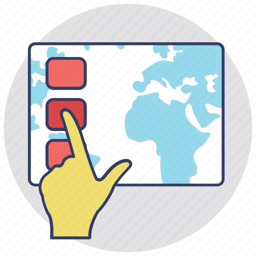 click, finger touch, hand touch, push button, touch screen icon