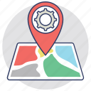 destination, gear pin, gps map, location settings, navigation concept