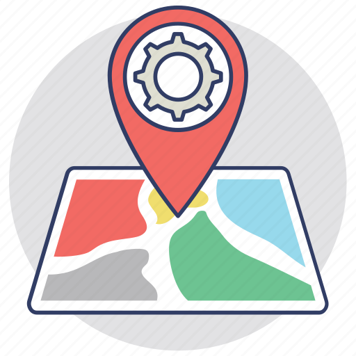 destination, gear pin, gps map, location settings, navigation concept icon