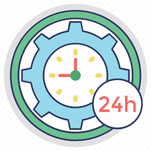clock inside gear, customer service, customer support, full service, twenty four hours icon