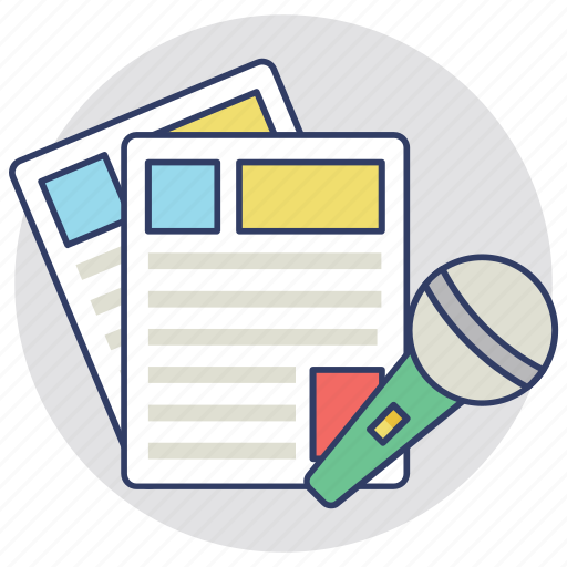 media release, news release, press release, press statement, recorded communication icon