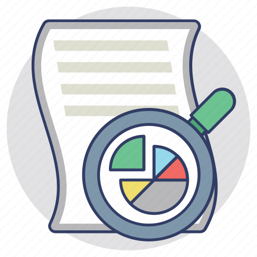 analysis, explore, research, review, search icon