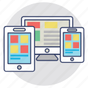 adaptive design, responsive design, website designing, website layout, wireframe icon