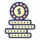 coin, digital, dollar, money, currency