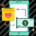 app, charity, digital wallet, e-wallet, heart, online donation, smartphone